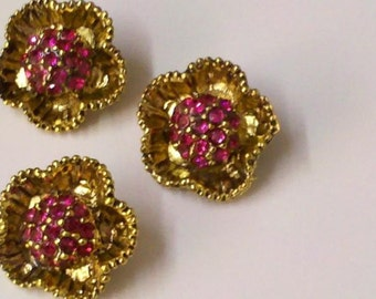 10  Pieces Vintage  Flower Shaped  Pink Glass Rhinestone Gold Nickle Free Lead Free Metal Buttons