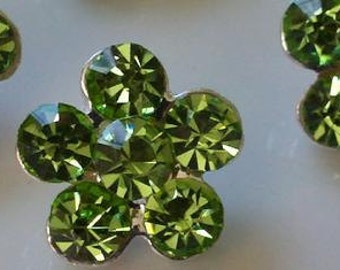 """Silver Metal lime green glass Rhinestone Button  14 mm 20 pieces """"joy GN"""""""