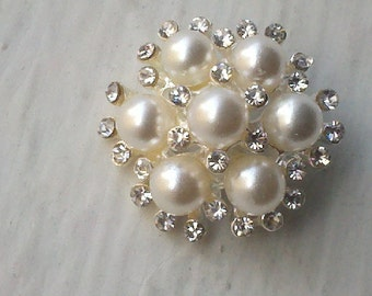 25 mm  Ivory Pearl Rhinestone  Silver Metal Buttons, Sewing and Jewelry Supply 10  Pieces Bridal Embellishment