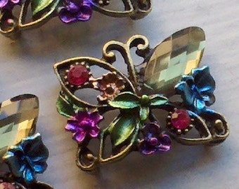 4 Pieces Olive Rhinestone Beads with   Butterfly Motif  Metal  Base-- 4BO