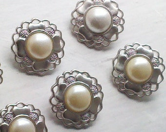 12 Pieces Vintage 14 mm   Filigree Edge Metal  Flower Shaped Metal Shank Buttons with Pearl Center