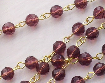 36  Inches 6 mm Burgundy   Faceted  Crystal Glass Beaded Links, Rosary Chain Links with Gold Plated Loops.