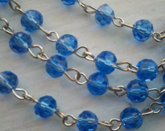 36 Inches of 6mm   Transparent Sky Blue  Faceted Round  Glass Beaded Rosary Chain Links