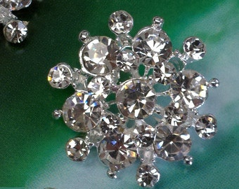 10 pieces Silver Metal  clear  Rhinestone Shank Buttons 23 mm Bridal Embellishment.