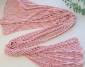 Simple,Soft and Romantic  Solid Pink  Color Micro Pleated  Scarf