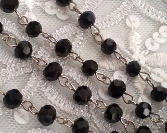 36 Inches Jet  Black 6 mm  Faceted Round Czech Glass   Beaded Rosary Style With Silver Chain Links,