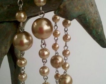 """36"""" Vintage   Champagne Glass Pearl Beaded Silver Links, Mixed Sizes of 12 mm and 6 mm Glass Gold Pearls"""