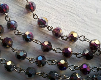 36 Inches of  6mm Faceted Round AB Deep Purple  Glass Beaded Rosary With Gunmetal  Loops , Jewelry Making Supply