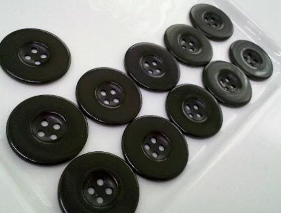 24 Pieces Large  Black Plastic Coat  Buttons 32 MM