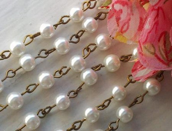 36 Inches  6 mm Ivory Glass Pearl  Rosary Chain with Nickle Free Antique Brass  Loops, Supply