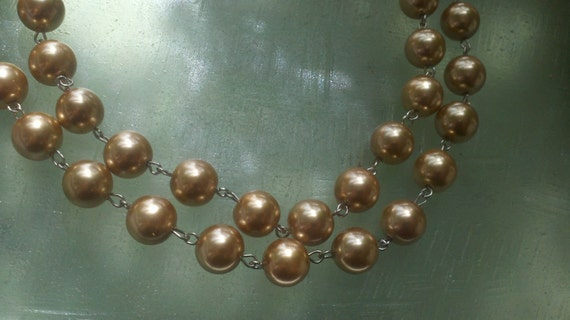 """36""""  12 MM   Champagne  Color Glass  Pearl Beaded  Silver Chain Links,  Handmade  Jewelry Supply"""