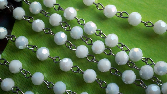 36 inches Opaque AB  White  6 mm Faceted Round  Glass Beaded Rosary Chain Links with Silver  Loops.  Jewelry Supply.