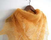 honey gold leaves lace shawl, triangular, hand knitted, superlight