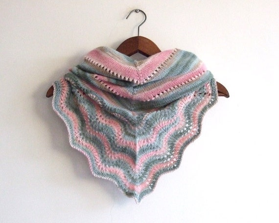 knit triangle scarf, ON SALE 20% OFF, lace shawl, beige pink green neckwarmer