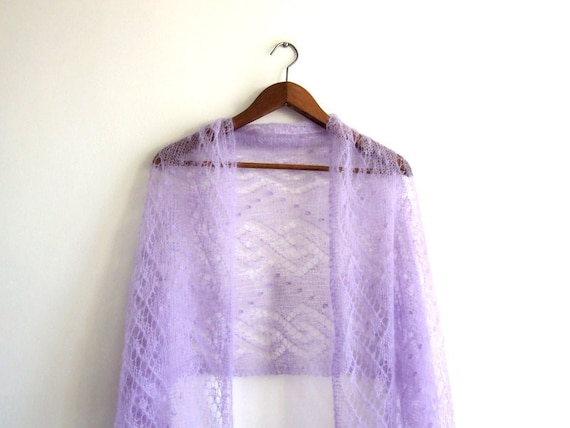 wedding shawl, delicate lace, lavender, hand knitted