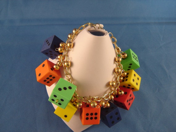 Gold Link Bracelet with Gold Ball Dangles & Hard Rubber Multi-Color Dice Charms