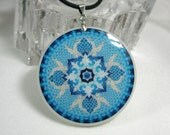 Light Blue Mandala Medallion Amulet Polymer Clay