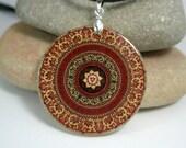 Brown Mandala Medallion Amulet Polymer Clay