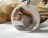 Vintage Print Squirrel, Polymer Clay Necklace, Power Animal