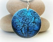 Cobalt blue vector flowers, polymer clay necklace