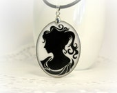 Black and White Greek Lady in Tunic Silhouette,Necklace Polymer Clay