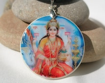 Lakshmi Hindu Goddess of Luck and Wealth, polymer clay amulet