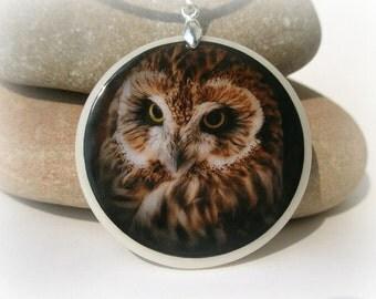 Owl Amulet Polymer Clay Medallion
