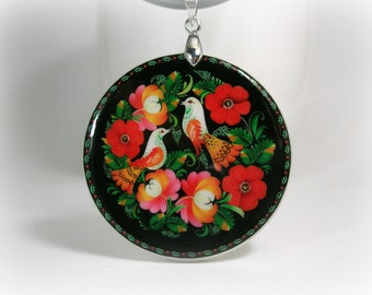 Colorful Bird Couple in Flowers,  Russian Folk Art Pattern Polymer Clay Necklace