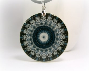 Midnight Blue And White Mandala Necklace, Polymer Clay