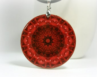 Red  Kaleidoscope Necklace Polymer Clay