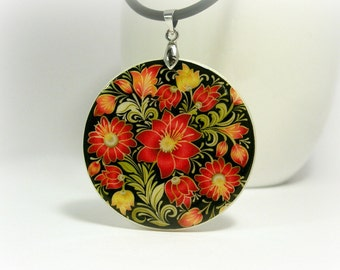 Colorful Flower Pattern , Russian Folk Art Style Necklace Polymer Clay