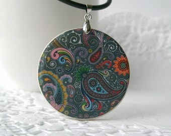 Abstract Colorful Pattern, Necklace Polymer Clay