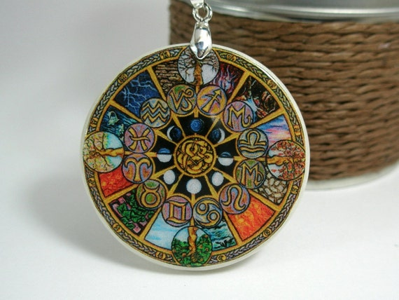 Zodiac Circle Amulet Necklace Polymer Clay