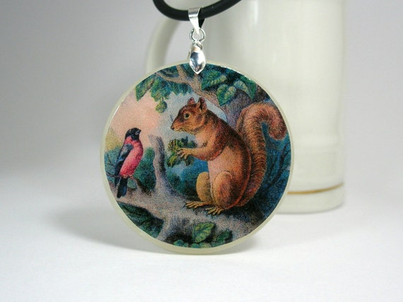Squirrel And A Bird On A Branch Necklace Polymer Clay