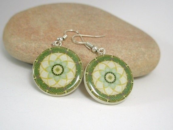 Green Mandala Polymer Clay Earrings