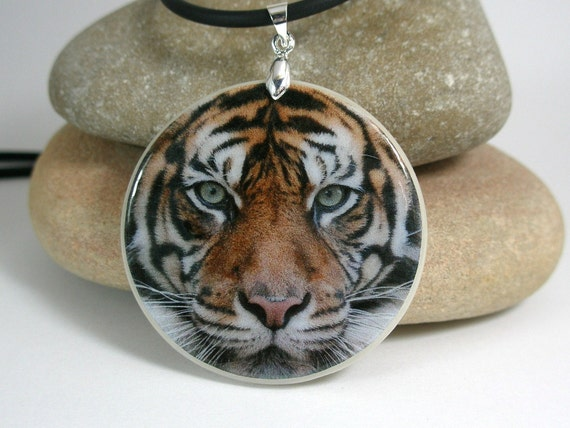Tiger Amulet Polymer Clay Medallion