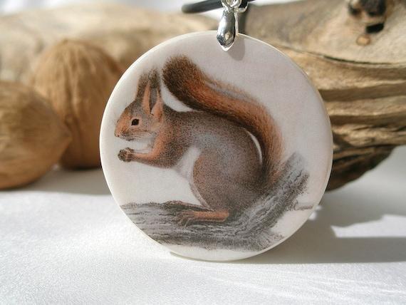 Vintage Print Squirrel, Polymer Clay Necklace, Power Animal