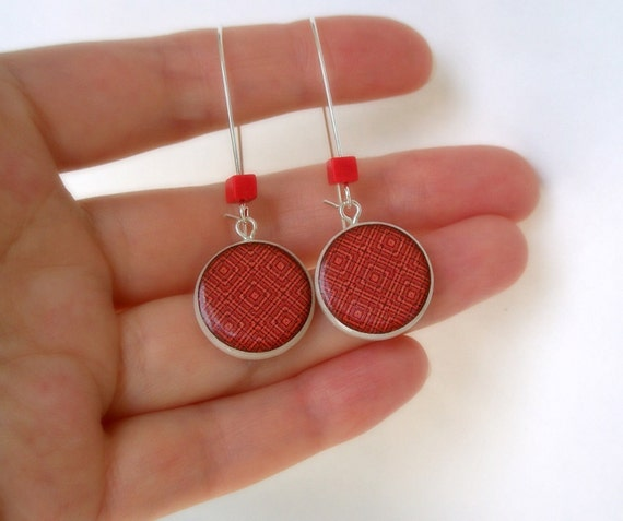 Abstract Rectangular Pattern Shade of Red Polymer Clay earring  with Coral Cubic Beads
