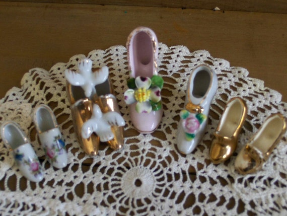 Vintage Antique Tiny Porcelain China Shoe collection of 7 Occupied Japan