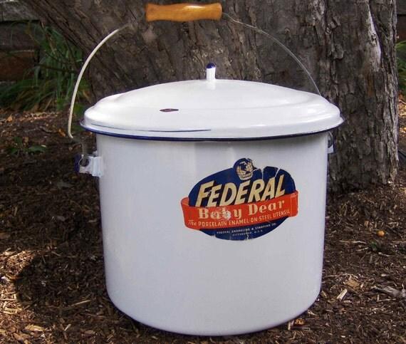 Sale Large Federal Baby Dear Porcelain Enamel Pail