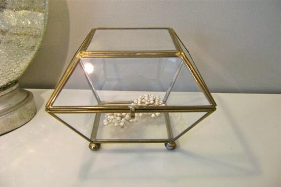 Vintage Square Glass Brass Trinket Box