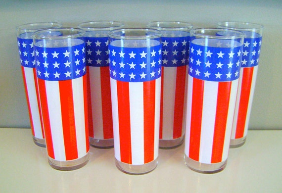 7 Vintage Patriotic Drinking Glasses
