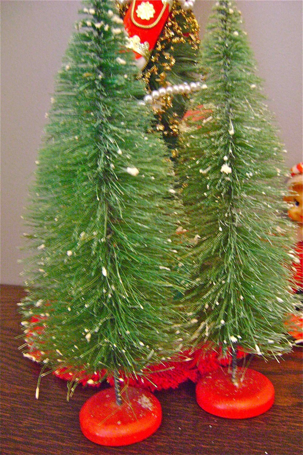 Vintage Bottle Brush Christmas Tree Pair By