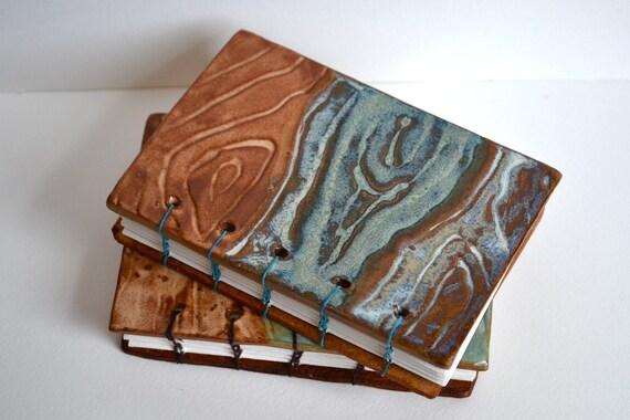 woodgrain ceramic artist journal -teal linen coptic binding