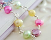 Easter Jewelry Bright Pastel Freshwater Pearl Bracelet Girls Child Children Colorful Wire Wrapped Sterling Silver