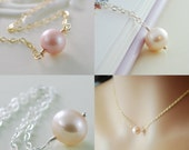 Mother Daughter Necklace Set, Pink Freshwater Pearl, Sterling Silver and Gold Jewelry