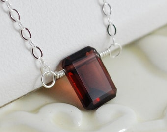 Garnet Necklace, Child's Jewelry, Sterling Silver, Emerald Cut Gemstone, Deep Red, January Birthstone