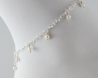 Real Freshwater Pearl Anklet for Child, June Birthstone, Wire Wrapped Ankle Bracelet, Delicate, Sterling Silver Jewelry