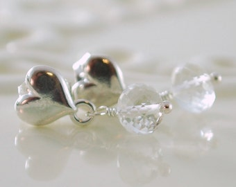 Crystal Quartz Earrings Child Children Girl Sterling Silver Gemstone Jewelry AAA April Birthstone Heart Ear Posts