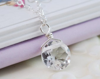 First Diamond, Children's Necklace, Crystal Quartz Necklace, April Birthstone, Sterling Silver Jewelry